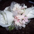 Double Silk Rose Bud Corsage with Hydrangea. Perfect for wedding or prom. 004NW