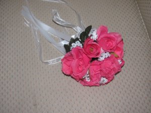"Hot Pink Silk Roses in a 7"" Hand Tied bridal bouquet for weddings. 1063"