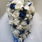 Blue & N. White Ruffled Rose Cascade w/Day Lilies & Spray Roses in a Bridal Bouquet 13 030