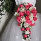 Ruffled and Open Roses with Calla Lilies in a Cascade Bridal Bouquet 13 001