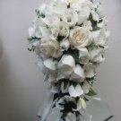Natural White Silk Rose Cascade Bouquet  151