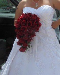 Red Silk Ruffled Rose Cascade Bride's Wedding Bouquet 13 015