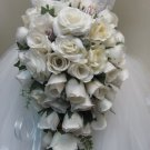 White Rose Cascade Bridal Bouquet with Sea Shells 13 250