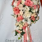 Custom Dyed Coral Silk Cascade Wedding Bouquet.  0281