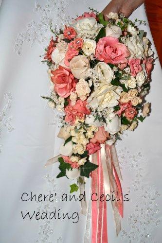 Custom Dyed Coral Silk Cascade Wedding Bouquet.  0281
