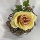Cream and Mauve Corsage with Crystal Dragonfly & Crystal Flower mixed Greens 2806a