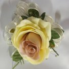 Cream and Mauve Corsage with Crystal Rhinestone Spray, mixed Greens 2806d