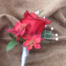 Red Ruffled Rose Boutonniere with Hydrangea and Rhinestones 3105a