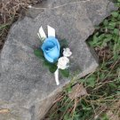 Light Teal Silk Rose Bud Boutonniere w/ Hydrangea Button Hole Flower wedding or prom 4203b
