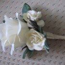 Natural White Ruffled Rose Boutonniere with  Spray Roses 3104b
