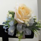 Peach Ruffled Rose with Baby's Breath Wrist Corsage Prom or Wedding