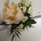 Peach Ruffled Rose with Baby's Breath Boutonniere Prom or Wedding 3500