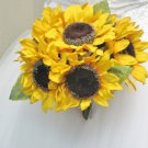 Hand Tied Sunflower Bridal Bouquet for Weddings 1046-1