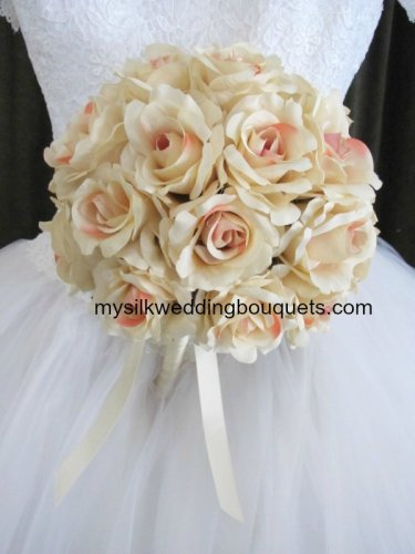 """Silk Ruffled Roses in a 10"""" Round Bridal Bouquet #510"""