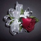 Red Pin on Corsage with Rose Bud & DR Baby's Breath - Prom - Wedding.