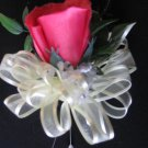Hot Pink Pin on Corsage with Rose Bud & DR Baby's Breath - Prom - Wedding.