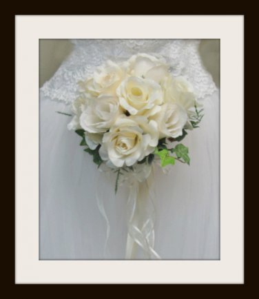 "Hand Tied Ruffled Rose 7"" Bouquet  Ivory 0700-1"