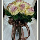 "Hand Tied Ruffled Rose 7"" Bouquet Ivory Mauve 0700-2"