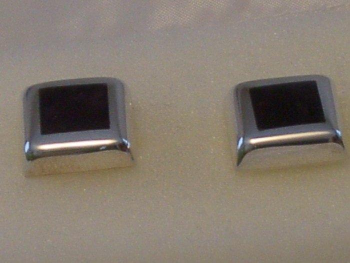Sterling Silver 925 Earrings w/ Deep Purple Inlay
