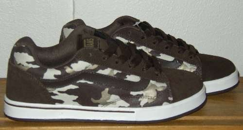 VANS NO SKOOL Brown Camo Skater Shoes Womens 8.5 NWT