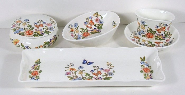 5 PC COTTAGE GARDEN Aynsley AVOCADO, BISCUIT TRAY+ MORE