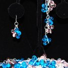 Butterflies and tear drops Bracelet and earrings