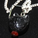 Black Cat Eye Glass Necklace