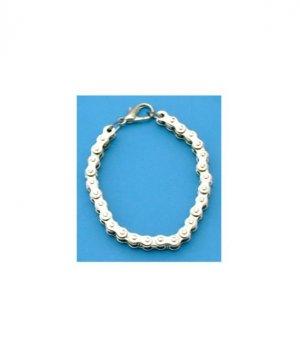 "Ladies Chrome Motorcycle Bike Chain Bracelet - 8"""