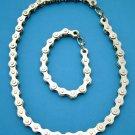 Chrome Motorcycle Bike Chain Bracelet & Necklace Set