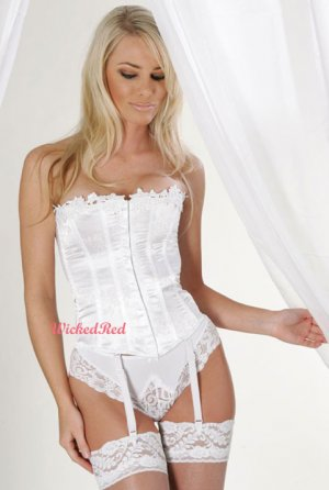 Satin Brocade Wedding White Strapless Lace Up Corset 36