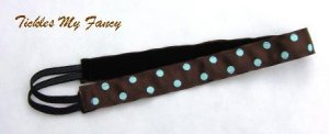 Exercise Non Slip Fashion Headband Brown Blue Polka Dots