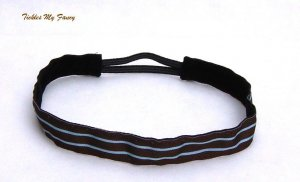 Exercise Non Slip Fashion Headband Brown Blue Stripes