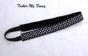 Exercise Non Slip Fashion Headband Black White Polka Dots