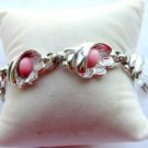 Rhodium Backed Shell Bracelet Pink Cabochons