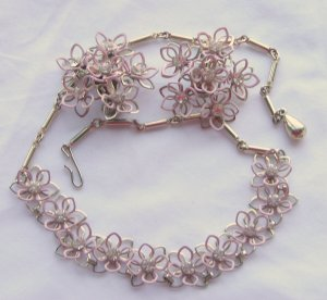 Pink Enamel and Rhinestone Wire Necklace and Earring Set