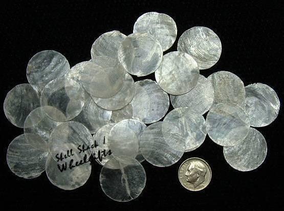"24 Round Capiz SeaShells 1"" - Craft Shells / Shellcraft - FREE ship!"