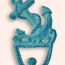 Blue Cast Iron Ship Anchor Wall / Coat Hook - Nautical / Maritime - Free Ship!