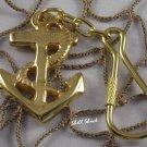 Brass Ship Anchor Keychain - NAUTICAL / MARITIME - FREE ship!