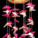 "Rattan Ring w/Parrots & Pink & White Cut Shells 20"" - Beach / Tropical / Sea Shell Decor - Free ship"
