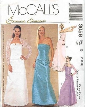 EVENING ELEGANCE BUSTIER/SKIRT PATTERN #3056 SZ 12-16