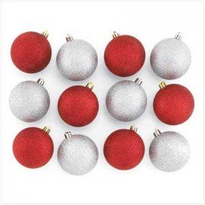 12 Pc Silver/Red Glitter Ornaments