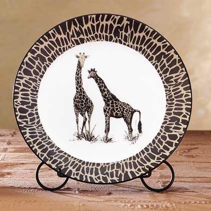 African Decor, Crafted in porcelain, safari-inspired patterning two elegant giraffes.