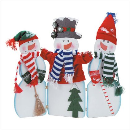 X-mas wood painted hinged snowman