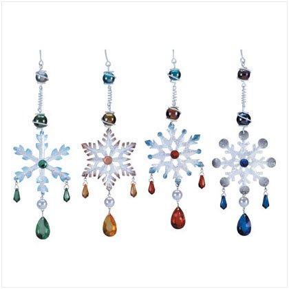2 Sets 4-pc ea. Snowflake Ornaments