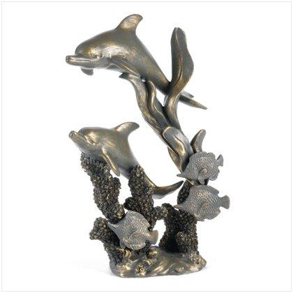 Antique Bronze Finish Dolphins, Sculpture, Figurines