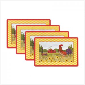 Country Farms Decor, Kitchen Accessories & Decor Rooster Serving Platter, 4pc.vinyl placemats