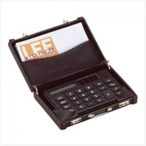 Office decor Mini-Briefcase Calculator bussiness card holder.