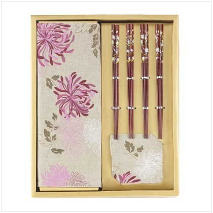 Oriental Decor, 2 sets, 16 pcs. each.Asian place settings, shades of bamboo & plum