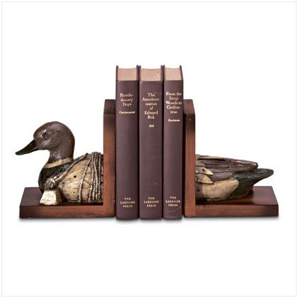Country Decor, Lodge Style Living, Wood Duck Book ends