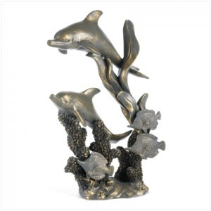 Antiqued bronzed finish dolphin statue